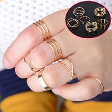 2015 latest fashion punk gold plated stackable midi ring sets for women bagues ensemble bijoux wholesale