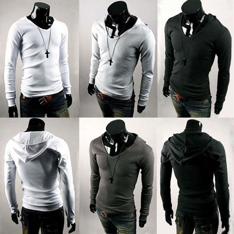 2015 Fashion Mens Sexy Muscle Long Sleeve Slim Fit V-Neck Basic Tee Shirts Hood Tops#70646(China (Mainland))