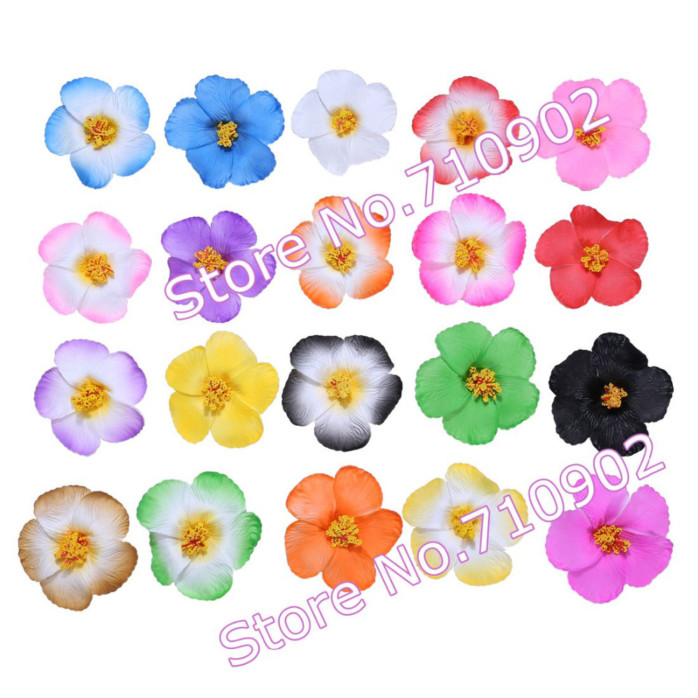Free Shipping!! 40pcs/lot 3.5Inch Hawaiian Hibiscus Foam Flowers Hair Clips (20 colors mixed)(China (Mainland))