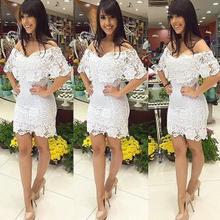 Vestidos de guipir brancos curtos