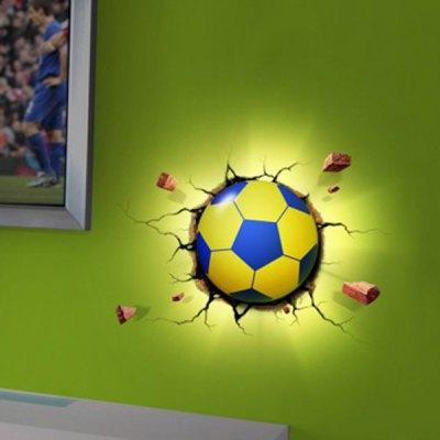 DIY Sticker LED Small Wall Lamp Light Sensor 3D Football LED Night Light for Bedroom Decoration(China (Mainland))