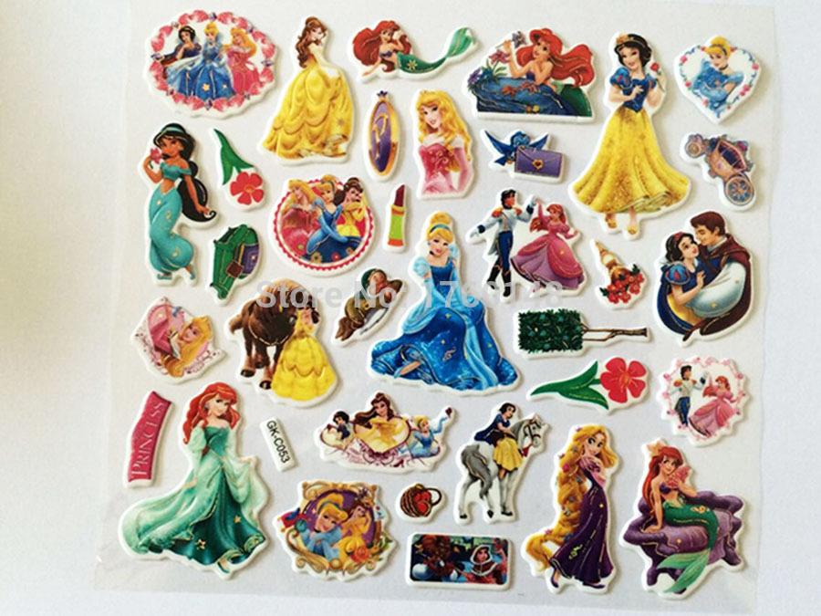 Mixed Princess Cartoon Pattern DIY Wall Desk Stickers Scrapbook for Boys Girls Kids Children room removable cartoon wall art(China (Mainland))