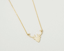 1 Piece N133 Stag Silhouette Deer head Shaped Animal Charm antler Necklace in Gold Handmade Animal