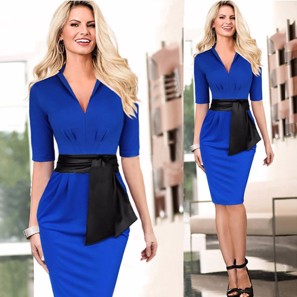 2015 Hot Sale Fashion White/Blue Summer Dress Women's Elegant Half Sleeve Sheath Dresses with Black Sashes Wear to Work(China (Mainland))