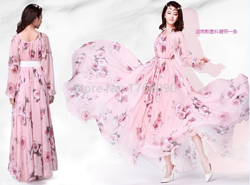 Plus Size 2015 Women Bohemian Long Sleeve Chiffon Maxi Dress Long Elegant Floral Print Beach Dress vestidos Casual Spring Summer(China (Mainland))