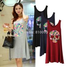 2015 new lady summer the long printing skull dress modal Vest dress for women(China (Mainland))