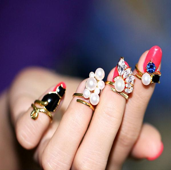 New Fashion Jewelry 4pcs Blue Crystal Black C at Created Pearl Zircon Nail Rings Women Knuckle Ring Set(China (Mainland))