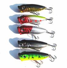 Lot 5pcs Fishing Topwater Floating Popper Poper Lure Hooks Crank Baits Tackle Tool 10g 7cm Free Shipping