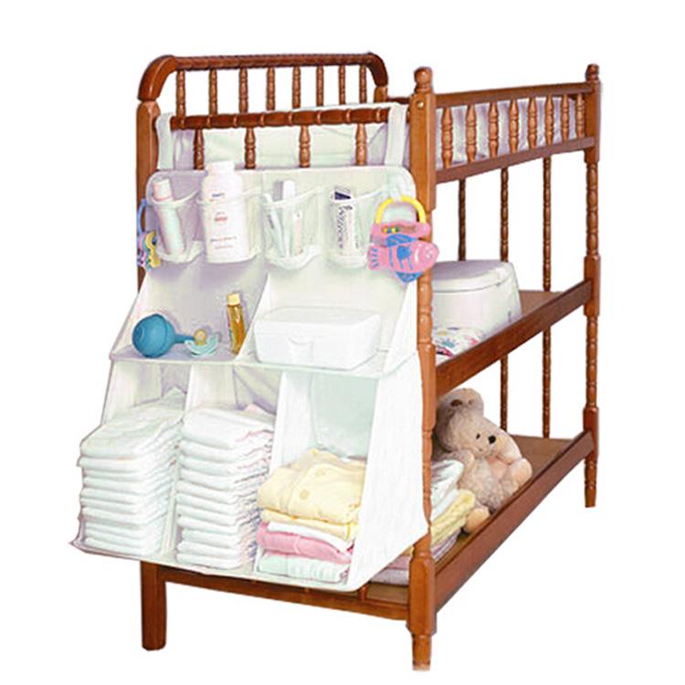 Fashion Newborn Crib Accessories Baby Bed Hanging Organizer Bag Nylon Waterproof Diaper Nappy Bottle Changing Storage Bag(China (Mainland))