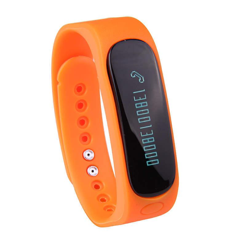 "0.81"" OLED E2 reloj inteligente smart electronics IP57 waterproof TPU sports fitness tracker bracelets USB charger wristband(China (Mainland))"