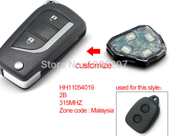 Brand New Modified Folding Flip Remote Key Keyless 2 Button For Malaysia Toyota 315MHZ (Without Chip)(China (Mainland))