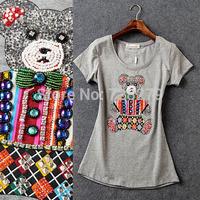 2015 Spring Fashion Women's Clothing T-Shirt  Kitten Rhinestones 3D all-match Diamond-studded Print   O-Neck White T-Shirts