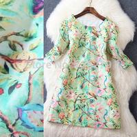 2015 Spring Summer DRESS New arrival Fashion Brief fashion O-neck fifth sleeve 3D Print Silk Linen Women Dress Summer Style