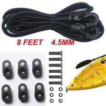 Kayak Canoes Bungee Deck kit Rigging Kit 8 Feet Black with Hard Wares-D Ring(China (Mainland))
