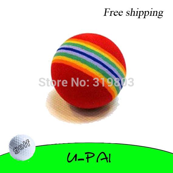Free shipping! 10pcs Golf Ball Practice Golf Ball Tranning Swing Indoor Backyard Aid Rainbow Color(China (Mainland))
