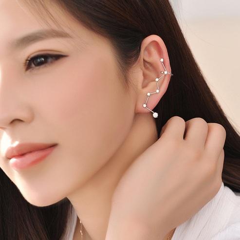 Korea Style Fashion The Big Dipper Shaped Cute Crystal Earrings Women Girls 2015 new Style Personality Zircon Earrings Jewelry(China (Mainland))
