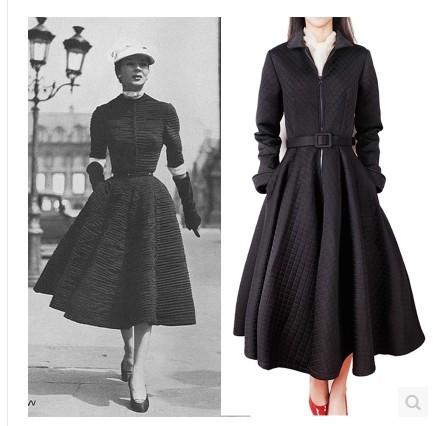 Sweater vintage retro 50s 60s Audrey Hepburn Rockabilly Pinup Party Swing Prom Dress Black long sleeve winter wear warm elegant(China (Mainland))