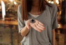 New 2015 Fashion Retro Silver Ellipse Black Jewlery Girls Long Sweater Necklace