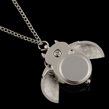 Silver Plated Owl Shape Chic Pocket Watch Pendant Analog Necklace Chain Women Watches Gift Fashion Design