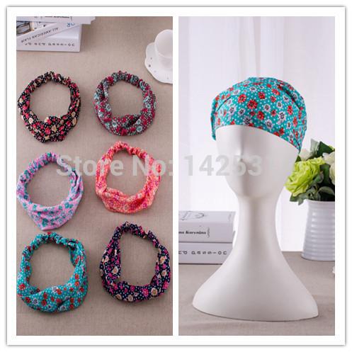 12Pcs/lot Floral fabric headband For Women hair accessories Girls Vintage Kerchief Bandanas Lady headdress Hairband Wide Turban(China (Mainland))
