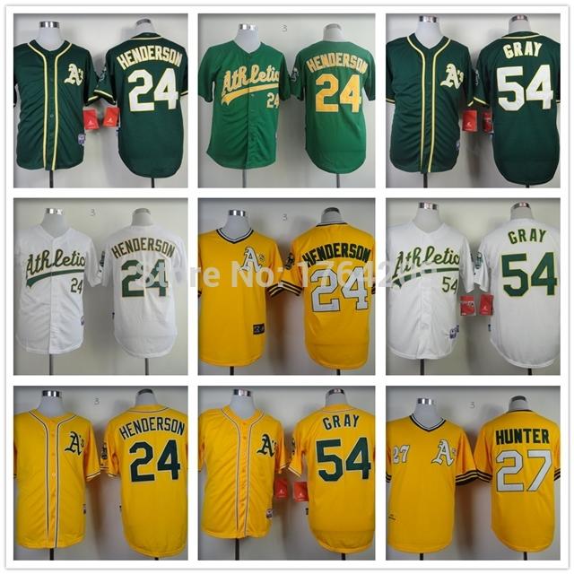 #24 Authentic Rickey Henderson jersey #54 stitched Sonny Gray jersey #27 High-quality Catfish Hunter Oakland Athletics Jersey(China (Mainland))