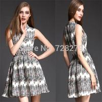 Fashion Women Dress 2015 Spring Summer Dress  Peacock feather Print slim V-neck Elastic Waist one-piece dress Summer Style XL