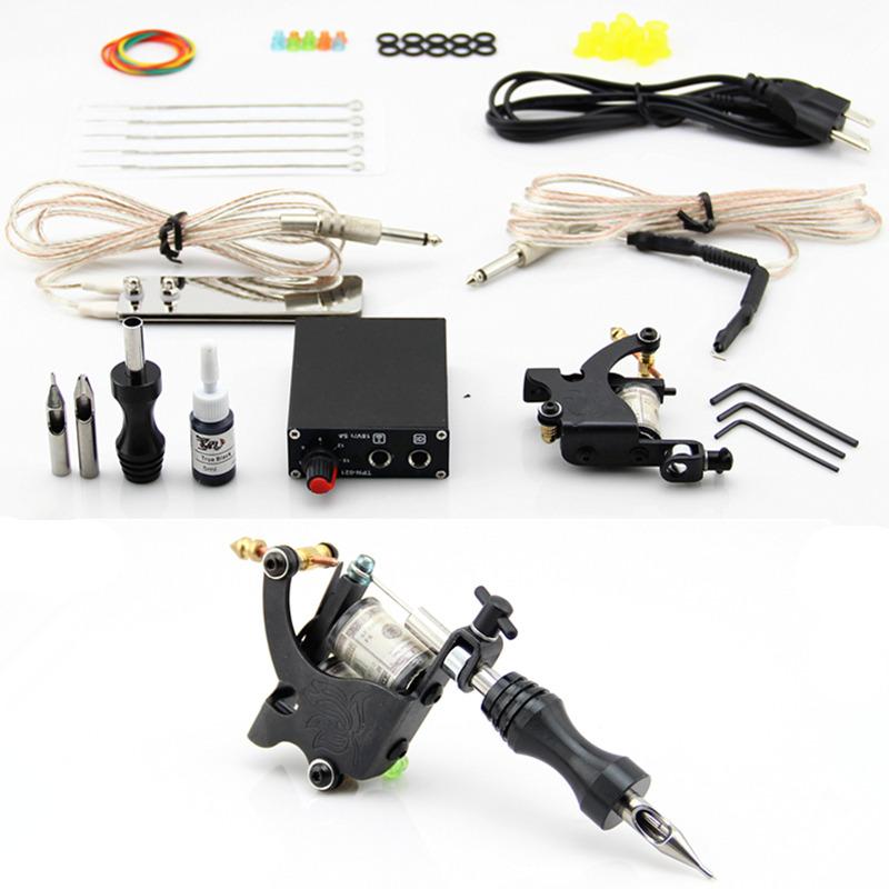 Complete Tattoo Kit Coils Machine Guns Inks Needles Power Supply Grip Tip(China (Mainland))