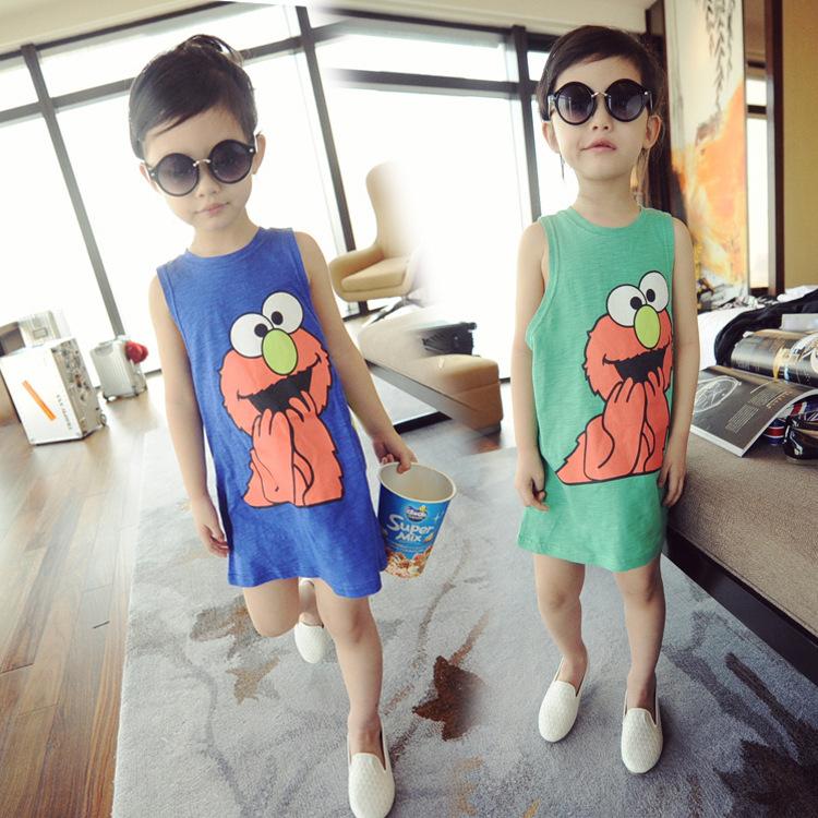 2015 new summer dress little girl cute causal cartoon printed straight tank dress long top child clothing vestido 1152(China (Mainland))