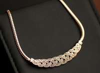 New Fashion gold&silver  Rhinestone necklaces for women 2015 statement metal choker collar Pendants necklace vintage jewelry