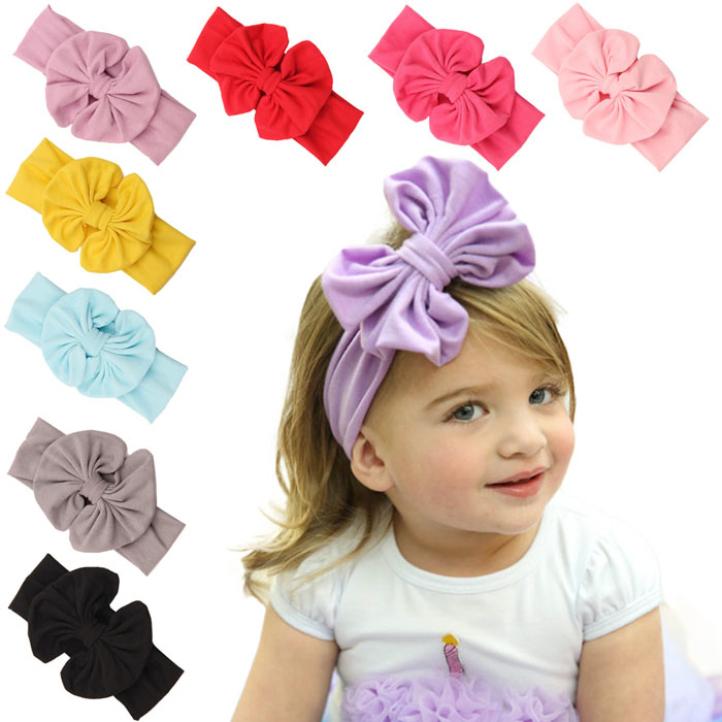 Newly Design 2015 Big Bowknot Baby Girls Cotton Headband Children Kids Head Wraps Accessories(China (Mainland))