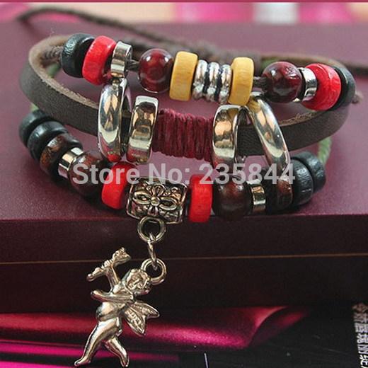 A25 1pcs Fashion Leather Cute Infinity Charm Cupid Wrap Multilayer Bracelet H6842 P