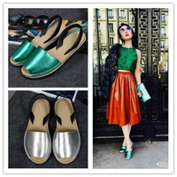 HOT Brand New 2015 Genuine Leather Summer Ballet sandals Shoes T-Strap Color matching Casual Women Sandals  flats shoes Zapatos