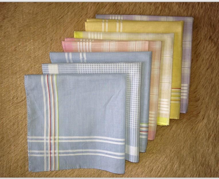 10pcs 30*30cm New Men's Hanky Handkerchief 100% Cotton Pocket Square Scarfs Plaid Hankerchief free shipping(China (Mainland))