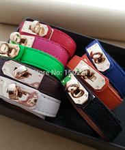 H Leather Bracelet multi Color Gold Alloy Vintage H Bracelet / Punk Rock Leather PU Bracelets Bangles for women with logo(China (Mainland))
