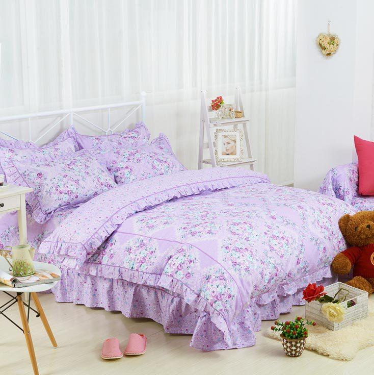 online kaufen gro handel lila bettw sche blumen aus china. Black Bedroom Furniture Sets. Home Design Ideas