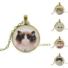 Vintage Bronze Chain Pendant Necklace Newest Glass Cabochon Statement Necklace Fashion Necklace For Women 2015 in jewelry