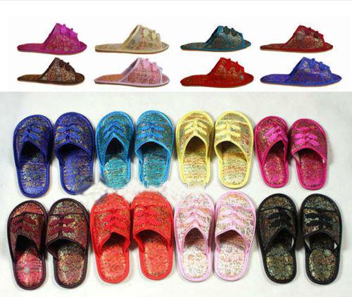 Wholesale10pairs silk satin Women's Men Shoes Slippers(China (Mainland))