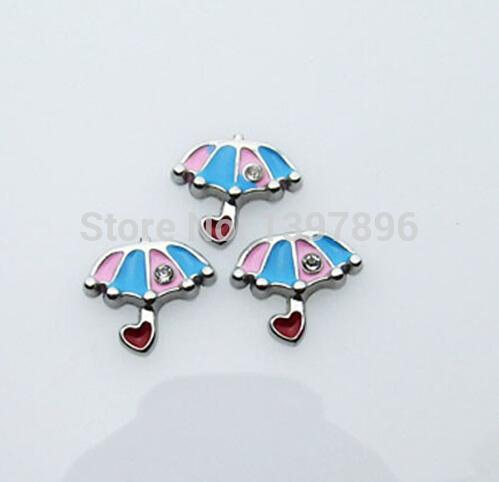 Free shipping !color enamel rhinestone lovely umbrella floating charms fit glass locket(China (Mainland))