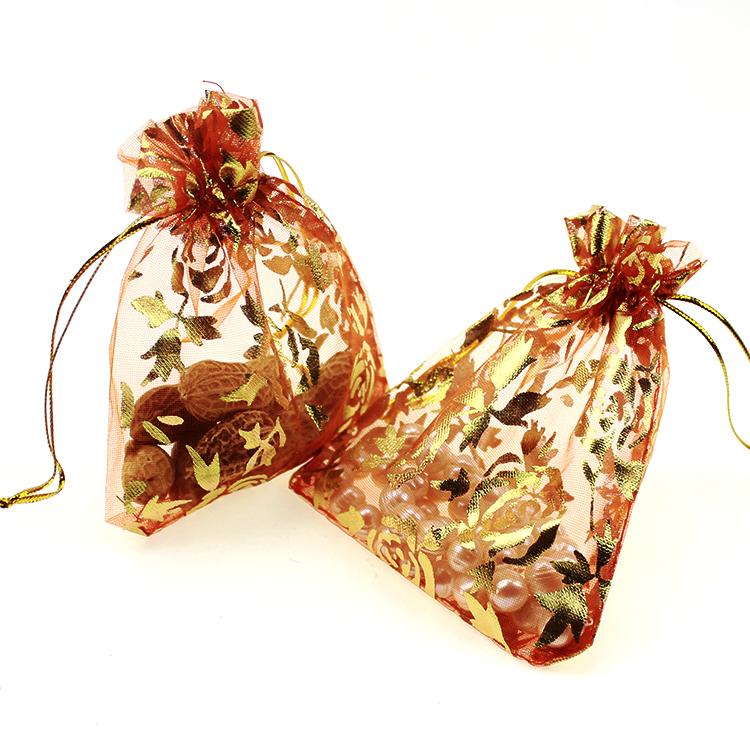 New 500pcs/lot Classic 7x9cm Orange Rose Storage Fashion Wedding Jewelry Bags Heart Gift Bags(China (Mainland))