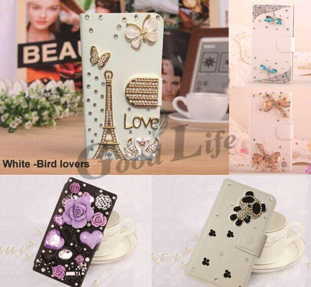 Butterfly Bling cover For Samsung Galaxy J1 J100 Diamond crystal flip wallet phone case 3D Flip case(China (Mainland))