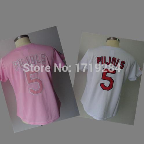 High Quality 5 Pujols baseball female jerseys St.Louis ladies Jerseys Baseball women sport shirt Accept Mix Order(China (Mainland))