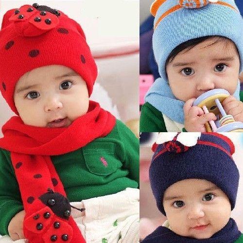 Baby Kids Girls ( Hat Cap + Scarf ) Set Cute Winter Knit Crochet Beanie For Gift(China (Mainland))