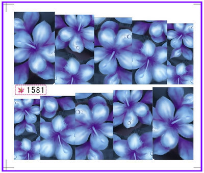1X Nail Art Water Transfers Stickers Nail Decals Stickers Water Decal Full Cover Blue Flower SY1581(China (Mainland))