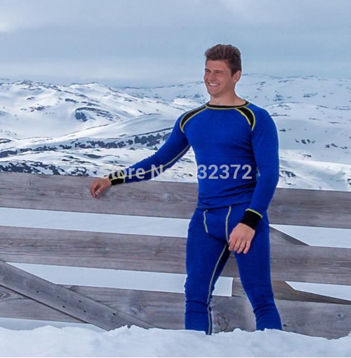 Merino wool thermal underwear set men outdoor sport body shaping underwear o-neck sports long johns(China (Mainland))