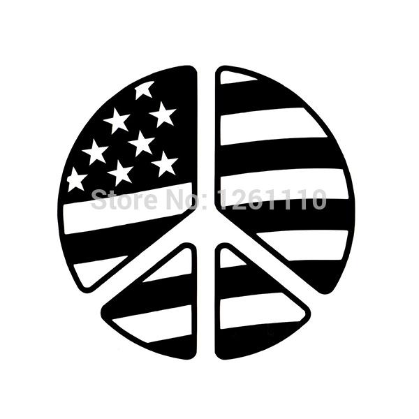 Peace Sign Symbol American Flag - Reflective Vinyl Decal Sticker Car Truck Suv Window Bumper(China (Mainland))