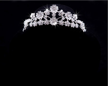 2015 new fashion Jewelry sets Pierced Bride Crown Bridal Necklace 3 PCS Marriage Accessories SILVER crystal