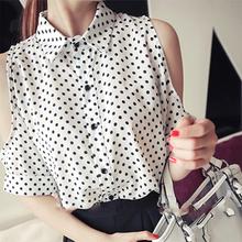 2015 New Summer Fashion Chiffon Shirt Women's Off The Shoulder Polka Dot Half Sleeve Sheer Blouse(China (Mainland))