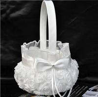 Wedding Ceremony Party Love Case Satin Bowknot & Rose Flower Girl Basket  for weeding decoration of wedding columnsAE02802