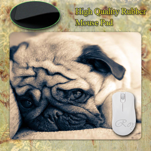 Funny Cute Pug Dog with Box Packed Silicon Gaming Mouse Pad 180x220x20mm Free Shipping(China (Mainland))