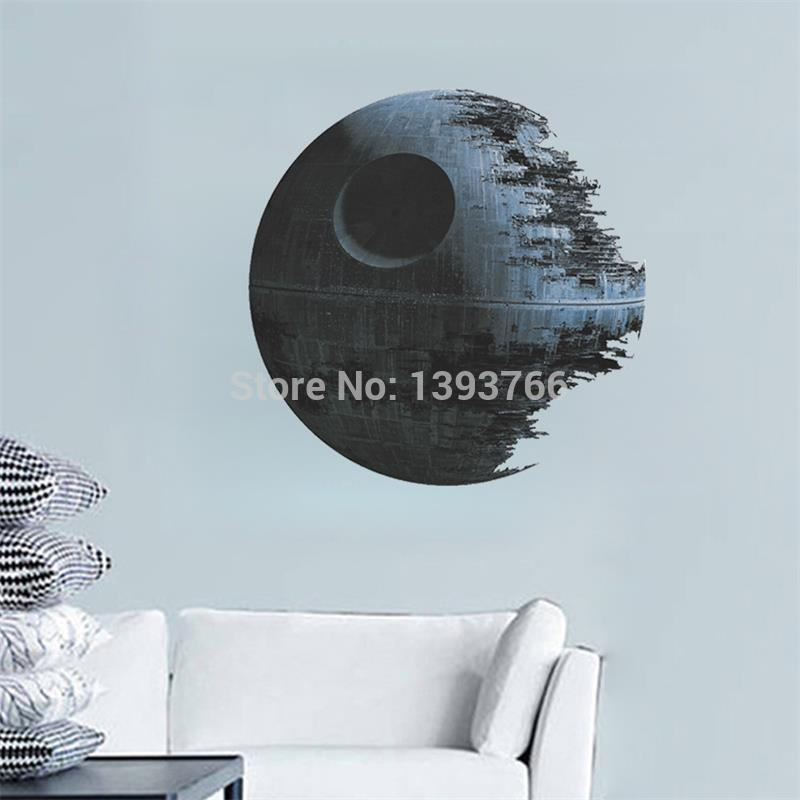 Ebay Hot Selling DEATH STAR ARTWORK Star Wars Wall Decal Removable 1441 3d WALL STICKER Home Decor Art Clone boy's room decor(China (Mainland))